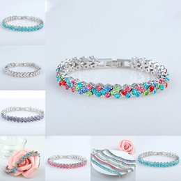 Wholesale red crystal bangles - AAA Cubic Zirconia Tennis Bracelet For Women Shining Silver colorful Birthstone Crystal Bracelet Jewelry gift Lady Chain Bracelet Bangle