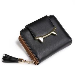 Wholesale Blue Key Tassel - Wholesale- 2017 fashion tassels style cute Women Short Wallet with Metal Hasp Lock female Change Purse multi Card Holder Girls Clutch