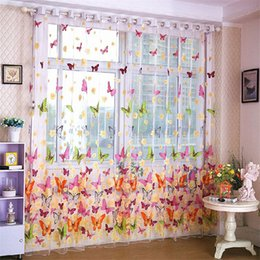 Wholesale Door Curtains Butterfly - Balcony Panel Screen Sheer Curtain Rustic Style Window Curtain Butterfly Printed Romantic Tulle Voile Fabric Transparent Sheer Curtains