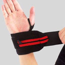 Wholesale Bars Accessories - 1Pair Sports Wrist Support Fitness Gym Training Weight Lifting Gloves Bar Grip Barbell Straps Wraps Wrist Support Hand Protection Strap Band