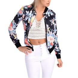 Wholesale Ladies Zip Jacket - Wholesale- Fashion Style Women Ladies Long Sleeve Biker Short Coat Jacket Floral Printed Zip Top Outwear