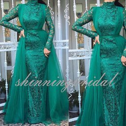 Wholesale Dresses Bands - Green High Neck Mermaid Prom Dresses with Embellishment Band Lace and Tulle Overskirt On Back Long Sleeve Evening Dresses Gowns