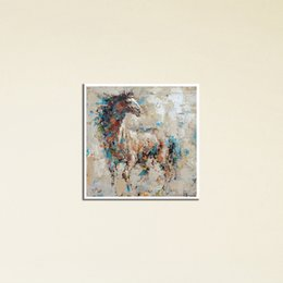 Wholesale Horse Abstract Wall Oil Paintings - Guarantee Horse Painting Canvas Art Wall Frames Picture Panel Square Living Room Printed Oil Painting Custom Print Decor Canvas