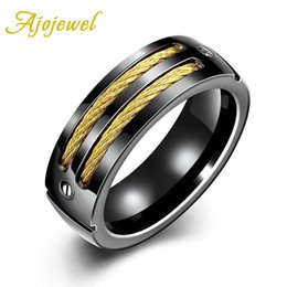 Wholesale Unique Simple Rings - Ajojewel 2016 New Arrival Unique Cool Simple 316L Titanium Steel Black Gold Finger Ring Men Brand