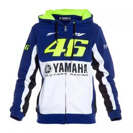 Wholesale Plus Size Sweater Coat - VR46 Men's Hoodie Long Sleeves Motorcycle Yamaha sports Racing Hoodies Bike Zipper Coats Jackets Men Sweater with Blue White