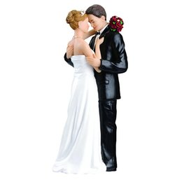 Wholesale White Cake Stands Wholesale - Wholesale-1PCS Wedding Cake Toppers Bride and Groom Figurines Resin White Stand Topper Accessories Casamento Decoration Decorating Tools