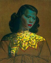 Wholesale Premium Rectangle - Framed Vladimir Tretchikoff CHINESE GIRL Yellow Jacket figurative PREMIUM QUALITY,genuine Pure Handpainted Art oil Painting Multi sizes P061
