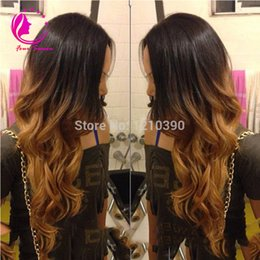 Wholesale Two Toned Lace Wig - 150 High Density 1B #30 Ombre Full Lace Wigs Human Hair Two Tone With Baby Hair Glueless Full Lace Wigs Brazilian For Women