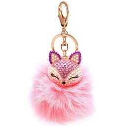 Wholesale Birthday Crystal Ball Gift - 1pc New Cute Animal Fox Fur Ball Keychain Rhinestone Metal Key Chain Ring Bag Car Keyring for Women Girls Birthday Gift