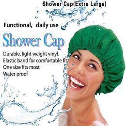 Wholesale Bath Caps For Women - Wholesale- Waterproof Vinyl Extra Large Shower Cap Breathable PVC Adults Solid Bath Hats For Women Long Hair Bathing Caps 29*29cm 8 Colors