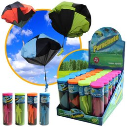 Wholesale Children Playing Sports - Parachute Launcher land UFO Sky Diver With Figure Soldier Kids Children Outdoor Sport Play Toys Christmas Gifts Child Parachutes DHL Free