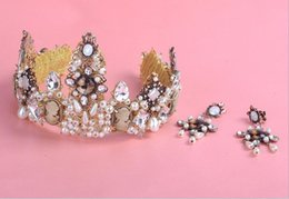 Wholesale European Fashion Industry - 2017 DG Baroque European Fashion style crown heavy industry bead crown set of bride jewelry wholesale Free shipping