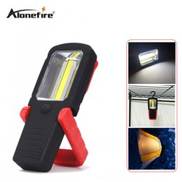 Wholesale Hook Magnet Led Flashlight - AloneFire C025 Multifunction COB LED Flashlight Handle Work Flash light for camping repairing With Magnet Hook USE 3*AAA Battery