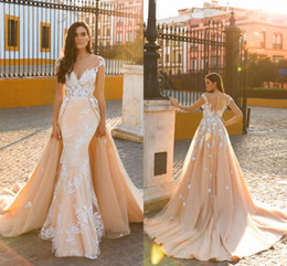 Wholesale Lace Over Satin Dress - 2018 Sexy Mermaid Wedding Dresses Sheer Neck Cap Sleeves Appliques Lace Tulle Over Skirt Wedding Gowns Illusion Back Bridal Dresses