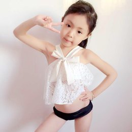 Wholesale Swimsuit Top Cute - Sweet Girls Swimming Suits Brief Pants + Lace Big Bowknot tank Hollow Tops 2pcs Set Cute kids Hot Spring Swimsuits For Girl Swimwear A6046