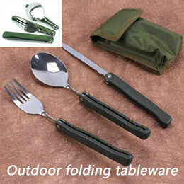 Wholesale Tool Set Dinnerware - Portable Folding Camping Tool Stainless steel outdoor tableware Folding Fork Spoon Knife Picnic Dinnerware Camping Set