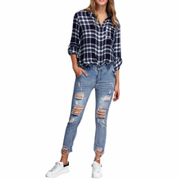 Wholesale Women S Torn Jeans - Wholesale- iSHINE 2017 NEW Boyfriend Casual Cool Jeans Slim women's Hole jeans pants Vintage Ripped Ankle-Length Mid Skinny Ankle torn tear