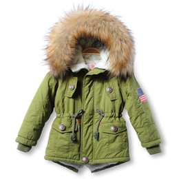 Wholesale Casual Faux Fur Hooded Pad - Thick Winter 2017 Kids Jackets Coats Hooded Faux Fur Collar Children Clothing Cotton Padded Snowsuit Baby Girls boys outerwear