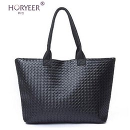 Wholesale Cheap Designed Handbags - Wholesale-sac a main femme Weave Handbag Hot Women PU Leather Cheap Handbag Tote Shoulder Bags Large Capacity PU Weave Bags Fashion Design