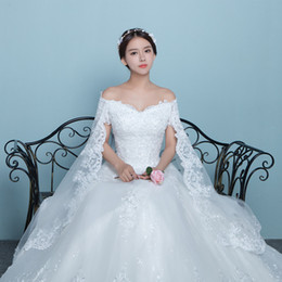 Wholesale Korean Wedding Dress Ankle Length - New arrival Korean style Lace shawl V-neck hollow back fat women dresses cover arms bridal wedding dress