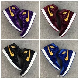Wholesale Boxed Wines - New Retro 1 Velvet Heiress Red Black Purple Blue Men Women Basketball Shoes Wine Red Air 1s Velvet Sports Sneakers High Quality With Box