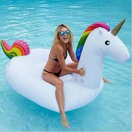 Wholesale Wholesale Swimming Rings - 275X140X120cm Giant Inflatable Swim Floats Unicorn Floats Summer Pool Water Raft Water Floats Swimming Ring CCA6720 20pcs