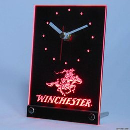 Wholesale Clock Guns - Wholesale-tnc0189 Winchester Firearms Gun Logo Table Desk 3D LED Clock