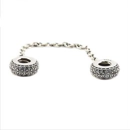 Wholesale Silver Circles Elements - Fits Pandora Bracelets Pave Inspiration Safety Chain Silver Beads 100% 925 Sterling Silver Charms DIY Jewelry