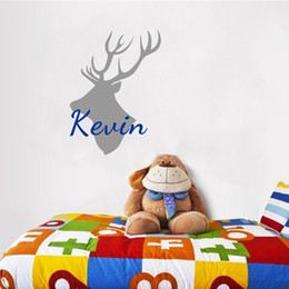 Wholesale antler room - Customer Made Antler Decors Personalized Any Boys Name Vinyl Wall Stickers Mural Decals for Kids Room
