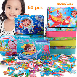 Wholesale Learning Jigsaw Puzzle Wholesale - High-grade Robin Board Wooden Puzzles Toys with Iron Boxes Chinese Zodiac Animals Jigsaw Puzzle Baby Learning Educational Toys Kids Gift