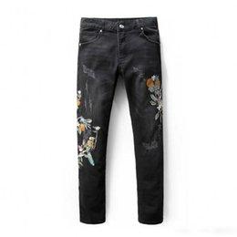 Wholesale Fiber Modes - Hommes De Casual Embroidery Birdie De Tatouage Conception Imprimer Jeans Homme Mode Slim Straight Fit Denim Pantalon Long Black