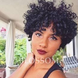 Wholesale Indian Curly Afro Wig - Afro Kinky Short Curly Lace Front Human Hair Wgs 100% Human Hair Wigs Average Medium Cap Size Natual Black Color 8inch