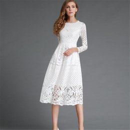 Wholesale Dresse Women - New 2016 Summer Fashion Hollow Out Elegant White Lace Elegant Party Dress High Quality Women Long Sleeve Casual Dresse G2535