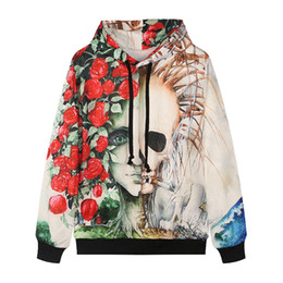 Wholesale Street Sweatshirt Collar - New Creative 3d digital prints rose skull head tracksuit women fashion street hooded hat sweatshirt men hoodie plus size hoodies sweatshirts