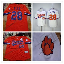 Wholesale Beer Jersey - Fashion Clemson Tigers Seth Beer College Baseball Jerseys 28 Mens Color Orange White Embroidery Logos Good Mix Order