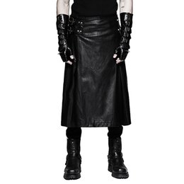 Wholesale Full Leather Skirt - Wholesale- Luxury Brand Punk Men's Leather Skirt Pants Faux Leather Black Gothic Skirts Dresses Large Sizes Trousers Pants XXXL