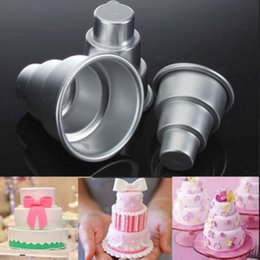 Wholesale Pizza Trays - Special DIY Mini 3 Tier Cake Pan Tins Cupcake Pudding Pizza Mould Cake Trays Party Home birthday
