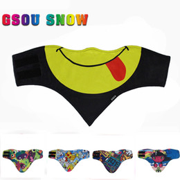 Wholesale Motorcycle Ski Pants - Wholesale- Gsou Snow 2017 Outdoor Ski Mask Snowboard Motorcycle Winter Warmer Sport Full Face Mask 3D Printed Triangular Scarf Skiing Mask
