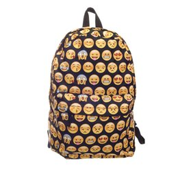 Wholesale Girls Smile Face - New Emoji QQ face smiling expression pattern backpack bag Expression School bag High Quality preppy style sport woman mochila