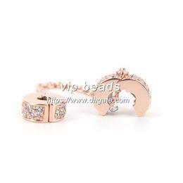 Wholesale Gold Zodiac Coin - Beads & Jewelry Making Flashing elegant rose gold chain security CZ Fashion Jewelry Charm Beads Fit Pandora Bracelets