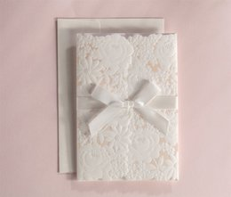 Wholesale Wedding Invitation Vintage Embossed - Wholesale-2015 fall free envelop and seal 50pcs set Vintage Embossed Tri-fold Wedding Invitation With Ribbon Bow CW5183
