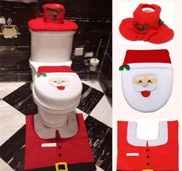 Wholesale Disposable Seat - Christmas Decorations Santa Claus Toilet Tank Lid Cover Mats Seat Cover and Rug Set Bathroom Set