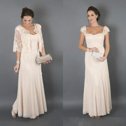 Wholesale Colour Lace Wedding Dresses - 2017 Elegant Champagne Colour With Jackets Mother of the Bride Dresses Formal Godmother Women Wear Evening Wedding Guests Dress Plus Size