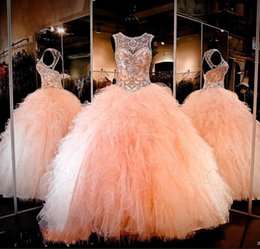 Wholesale Woman Pageant Dress Bead - 2017 Sparkly Beaded Crystal Ball Gown Quinceanera Dresses Sweetheart Keyhole Lace-up Back Ruched Tulle Long Prom Pageant Dresses for Women