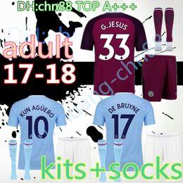 Wholesale Short Jesus - A+++ quality 17 18 adult home blue away Purple Man kit socks soccer jerseys KUN AGUERO DE BRUYNE STERLING SILVA JESUS TOURE YAYA shirt