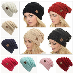 Wholesale Crochet Beanies Hats - CC Knitted Hats CC Trendy Winter Beanie Warm Oversized Chunky Skull Caps Soft Cable Knit Slouchy Crochet Hats Outdoor Hatsn 30pcs YYA257
