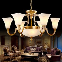 Wholesale Led Light Bar 24 Inches - Copper marble chandeliers high class luxury noble American European style chandelier lighting living room dining room hotel hall villa bar