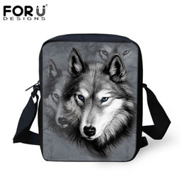 Wholesale 3d Printing Camel - Wholesale-New Brand Designers Men Messenger Bags 3D Zoo Animals Wolf Printed Male Shoulder Bags Cool Pet Dog Husky Cross Body Bags For Boy