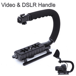Wholesale Camcorders China - U C Shape Flash Bracket Holder Video Handle Handheld Stabilizer Action Grip for DSLR SLR Camera Mini DV Camcorder Smartphone