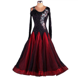 Wholesale Rhinestone Dance Costumes - Ballroom Dance Competition Dresses Lyrical Oriental Dance Costumes Standard Dance Dresses CHEAPEST D114 Tailored Rhinestones Ballroom Dress